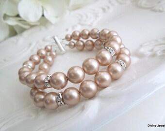champagne Pearl Bracelet, Ivory Swarovski Pearls, Bridal Classic Bracelet, Bridal Rhinestone Bracelet, Statement Bridal Bracelet, RENEE