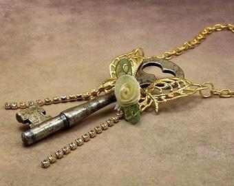 Skeleton Key Butterfly Necklace Silver, Gold
