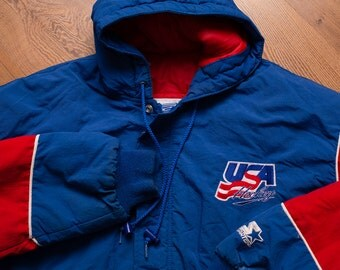 USA Hockey Logo Starter XL Winter Coat, Hooded Outerwear, Vintage 90s