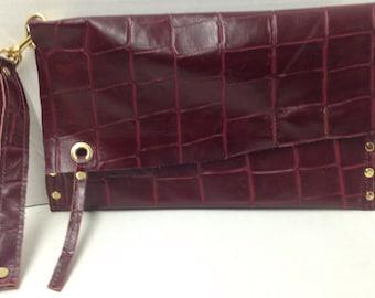 Burdundy Leather Wristlet Clutch - Ready To Ship - 100% Handmade