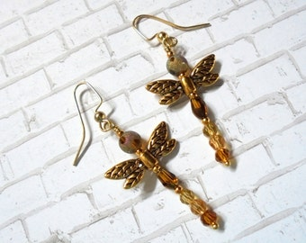 Golden Dragonfly Earrings (2684)