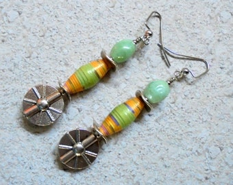 Mint Green, Peach, Lavender and Silver Earrings (2794)
