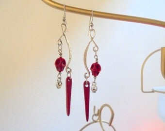 Red and Silver Skull and Dagger Earrings (2991)
