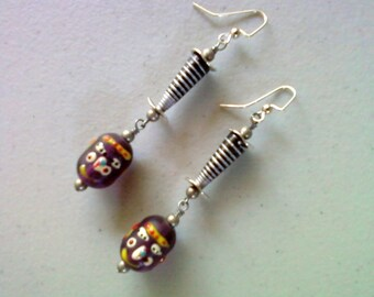 Purple, Black and Silver Ethnic Earrings (1379)