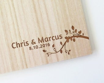 Wedding Book | Wood Guest Book | Custom Engraved | Wedding Album | Engagement Gift | Bridal Shower | modern branch