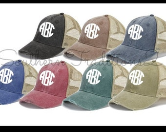 Monogram Trucker Hat - Monogram Distressed Trucker Hat - Monogram Raggy Trucker Hat