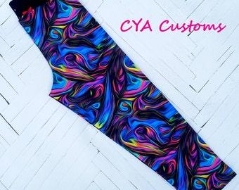 Capri length leggings girl size 8 melted crayon