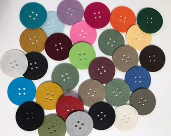 Wool Felt Button Die Cuts 30 - 1 1/2 inch Random Colored. 3534 die cut buttons - circle buttons