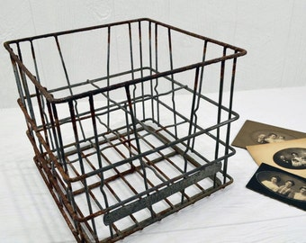 Vintage 1957 Wire Milk Crate - rustic Equity Dairies crate - Lima Ohio