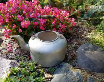 Vintage Tea Kettle Large Aluminum With Wood Handle, Silver Metal Teapot Water Kettle, Old Rustic Farmhouse Garden Decor