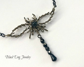 Copper Wire Wrap Dragonfly Wing Necklace with Crystals - Handmade Animal and Nature Jewlery