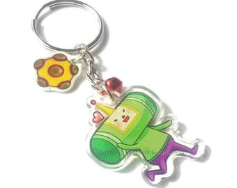 Clear acrylic double sided Katamari Damacy Chibi Charm keychain