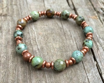 African turquoise bracelet, turquoise copper stretch bracelet, turquoise jewelry