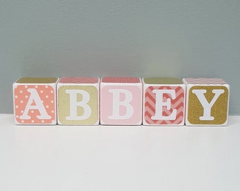 Personalized Baby Shower Gift, Personalized Wooden Baby Blocks, Coral and Gold