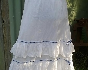 upcycled ruffle skirt, old world boho, petticoat style cheesecloth, s/ m