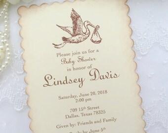Stork Invitations Baby Shower Invite Neutral Printed Invitations Set of 10