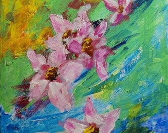Wild Flowers,  Acrylic Pinks, Blue, Green, Abstract,  Modern Floral with Thick Paint