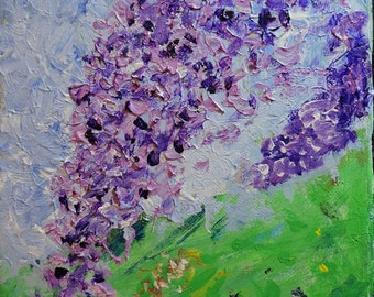 Lilacs, Acrylic Painting, Floral Art, Blue Green, Lilac, Modern Impressionist, Abstract