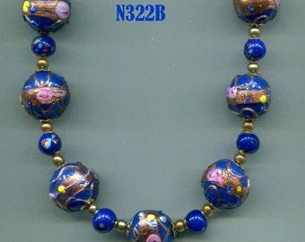 Venetian Murano Fiorato Wedding Cake Bead Necklace, Royal Blue N322B
