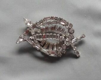 SALE - Vintage WEISS Baguette Clear Crystal Rhinestone Rhodium Plated Leaf Brooch/Pin