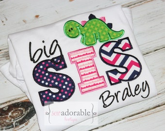 Big Sister Dinosaur Appliqued Shirt with FREE MONOGRAMMING. Pregnancy Announcement. Big Sister Tee. Personalized.