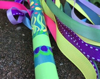 Beautiful bright wand hand painted fun play pretend dance ribbons best girl gift ever