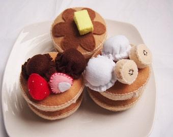 Felt Pancake Set - Play Toy Food - Pretend Play