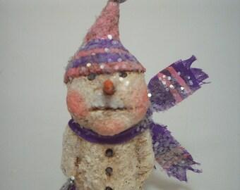 Teeny Snowman Paper Mache Folk Art Whimsical Rustic Purple Pink