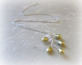 Pearl Branch Necklace, Wire Wrapped Pendant, Olive Pearls, Freshwater Pearls, Sterling Silver, Bloom Necklace, Natural Pearls, Gift for Her