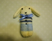 Knitted Bunny in Light Blue with Dark Blue Stripes and Cream, Child's Bunny Toy, Easter Bunny Toy