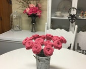 6  Burlap Roses on Stems In Snap Pink-Floral Arrangements-Home Decor-Shabby Chic
