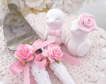Shabby Chic Love Birds Wedding Cake Topper, Server and Knife Set, White and Blush Pink - Bride and Groom