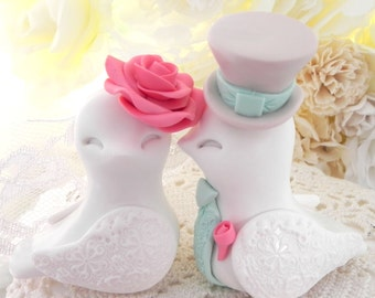 Love Birds Wedding Cake Topper, White, Coral, Mint Green and Beige, Bride and Groom Keepsake, Fully Customizable
