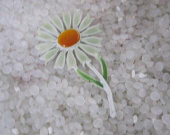 enamel flower brooch soft pale green daisy flower, orange center,
