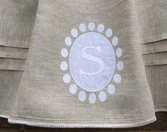 Grey Linen Window Valance Curtain, Personalized Monogram Curtain, Bedroom Valance, Window Topper, Cantonniere