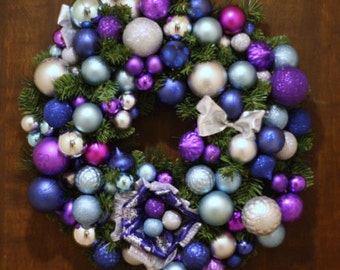 Door Wreath Purple Blue and Silver Holiday Christmas Pine Garland handmade USA