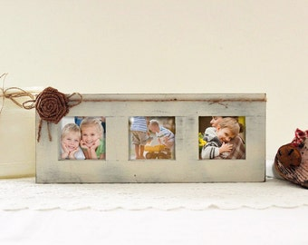 Rustic Picture Frame for Three Photos, Primitive Block Picture Frame, Shelf Sitting Frame
