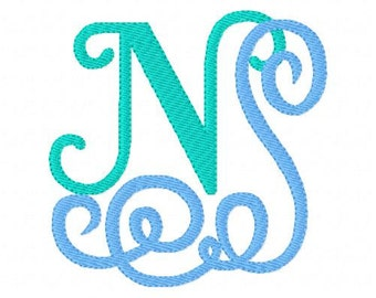 Ocean Waves Monogram Design Set // Machine Embroidery Font Design Set, Machine Embroidery Designs, Embroidery Font // Joyful Stitches