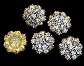 10pcs RD30 Rhinestone Gold Metal Flat Back Embellishment Buttons flowers invitations favors bouquets napkins accessories hair clips