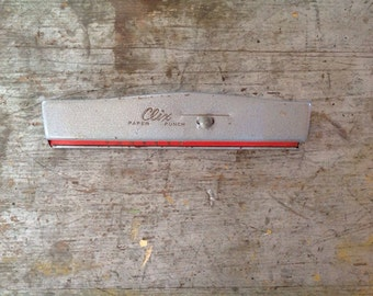 Vintage Industrial Clix 3 Hole Paper Punch USA