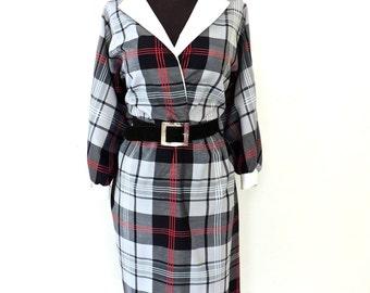 vintage plaid dress - 1960s Lady Carol black/white/red plaid cotton belted dress