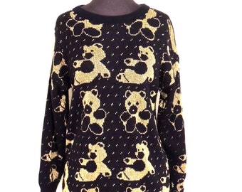 SALE vintage panda sweater - 1980s Margales black/gold metallic panda sweater
