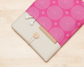Laptop case  / Macbook sleeve /  Laptop sleeve / 13 inch macbook air case, padded with pockets  - Pink
