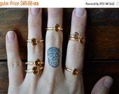 VALENTINES SALE CITRINE  /// Citrine Stackable Faceted Gemstones Gold Electroformed Rings /// Gold