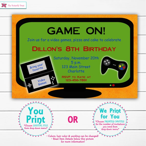 Items Similar To Video Game Birthday Party Invitation