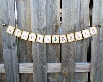 Jingle Bells Christmas Banner Rustic Holiday Home Decor Garland Mantle Decoration