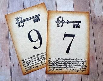 Wedding Table Numbers Vintage Style Skeleton Key Cards