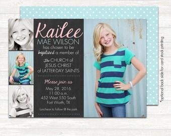 "LDS Baptism Photo Invitation (Digital or Printed)- ""Chalk Quad"""