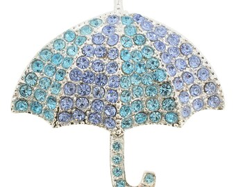 Turquoise Blue Umbrella Crystal Pin Brooch 1000411