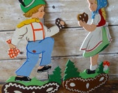 Vintage Wooden German Cut Outs Boy and Girl